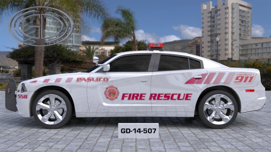 sideview design of a fire rescue paslico auto car
