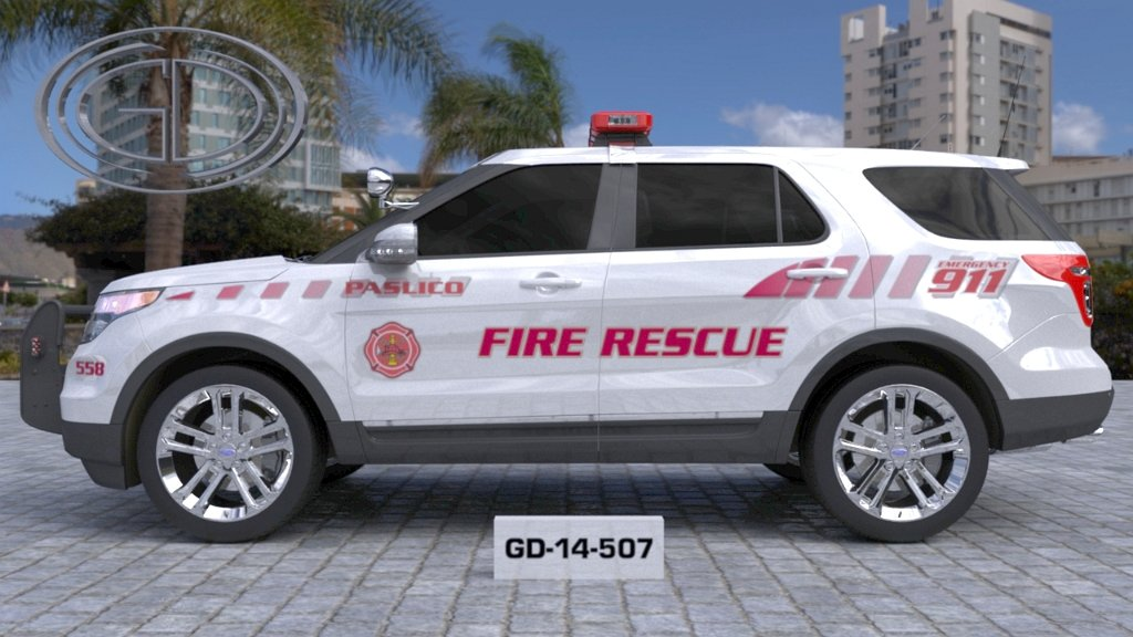 sideview design of a fire rescue paslico suv car