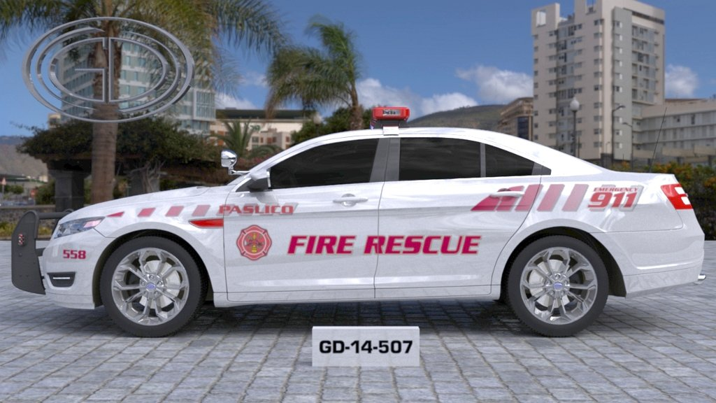 paslico fire rescue white car with pink font and line design
