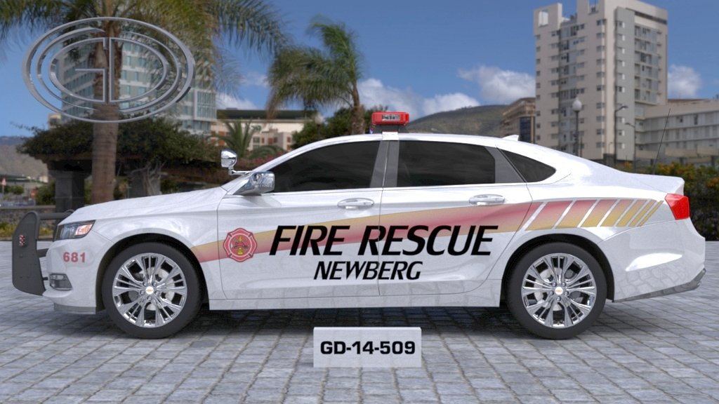 sideview of a bigger design of newberg fire rescue car