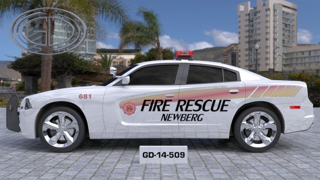 sideview design of a fire rescue newberg car