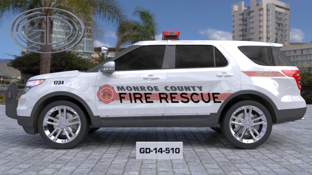 sideview design of a fire rescue monroe county suv car