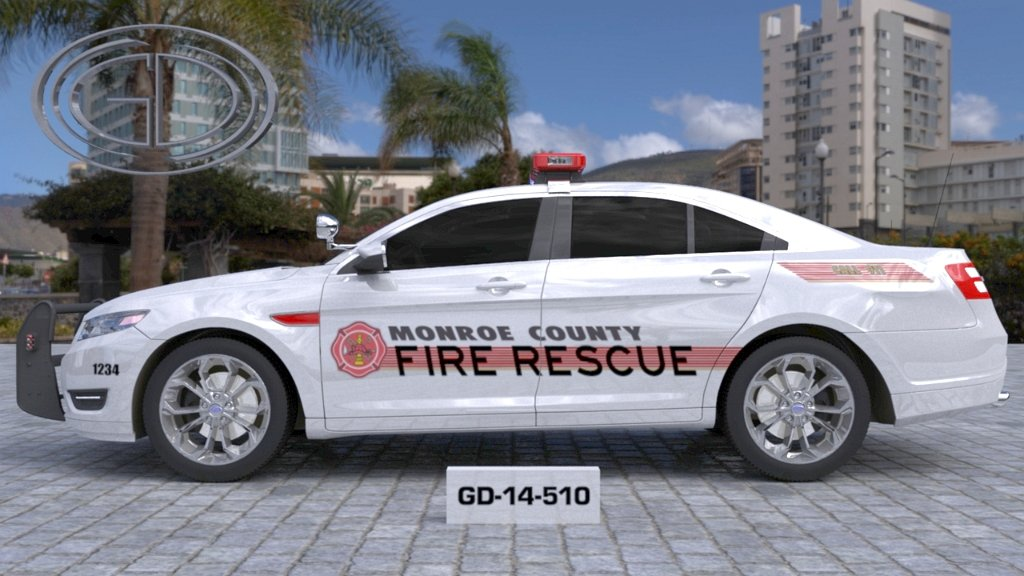 monroe fire rescue white car with red logo and line design