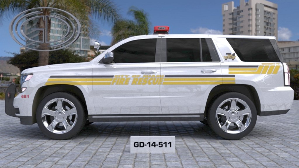 sideview of a white yellow designed fire rescue suv car with a model number of GD-14-511