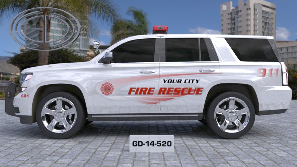 sideview design of your city fire rescue car with a model of GD-14-520