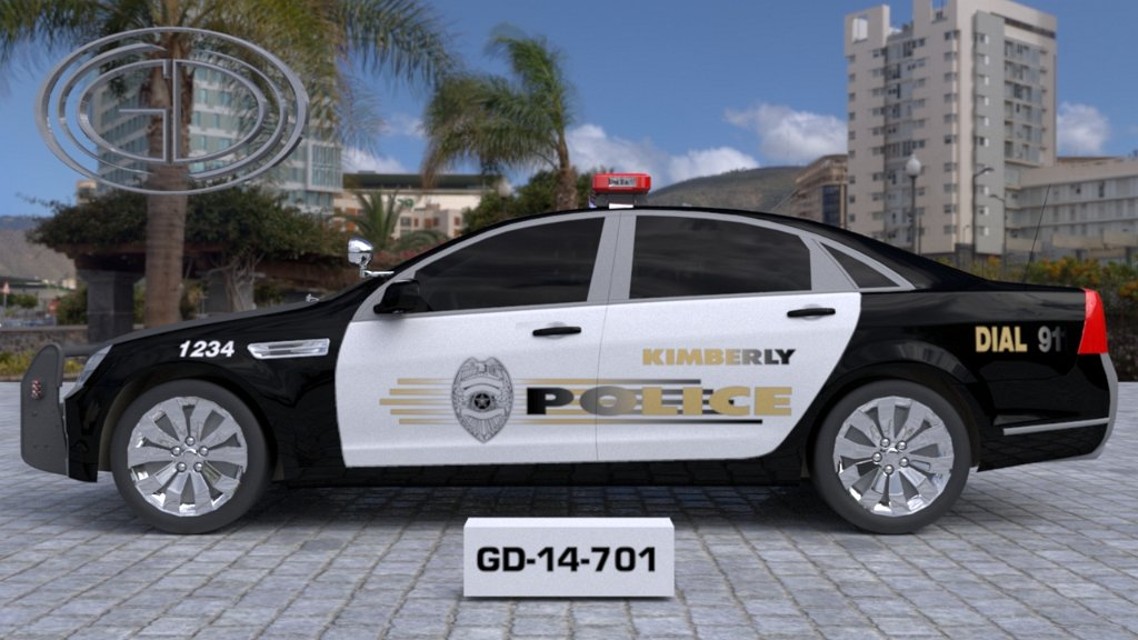 sideview design of a kimberly police car