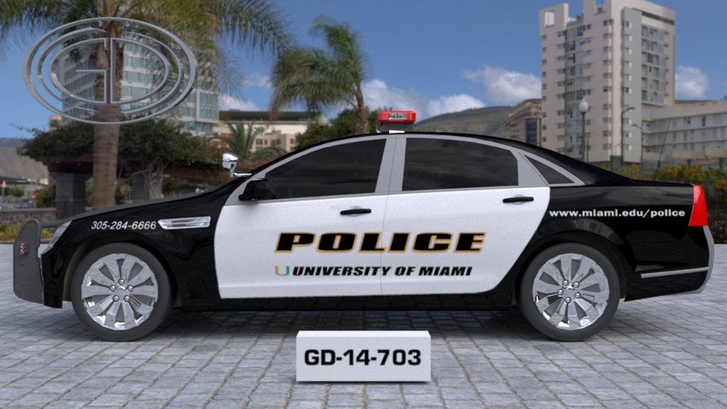 sideview design of a police car university of miami