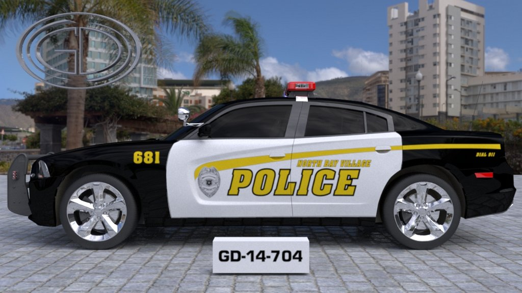 sideview of a white black designed police car north bay village