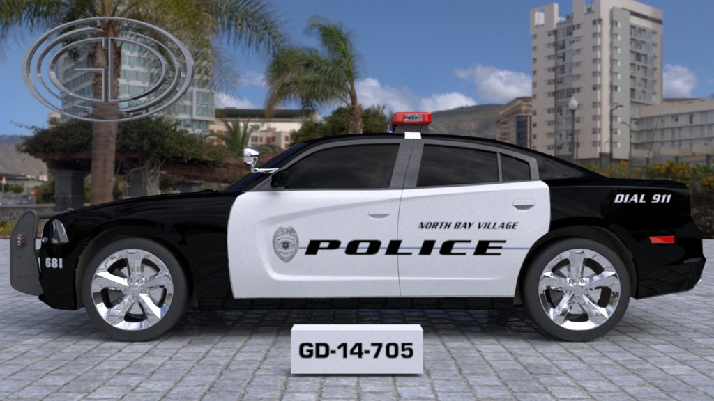 sideview of a a white black designed north bay village police car