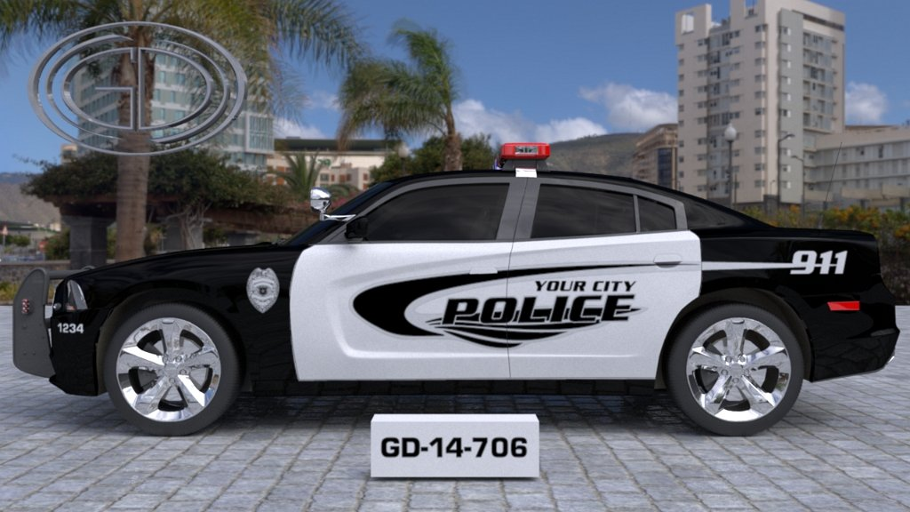 sideview of a white black designed your city police car GD-14-706