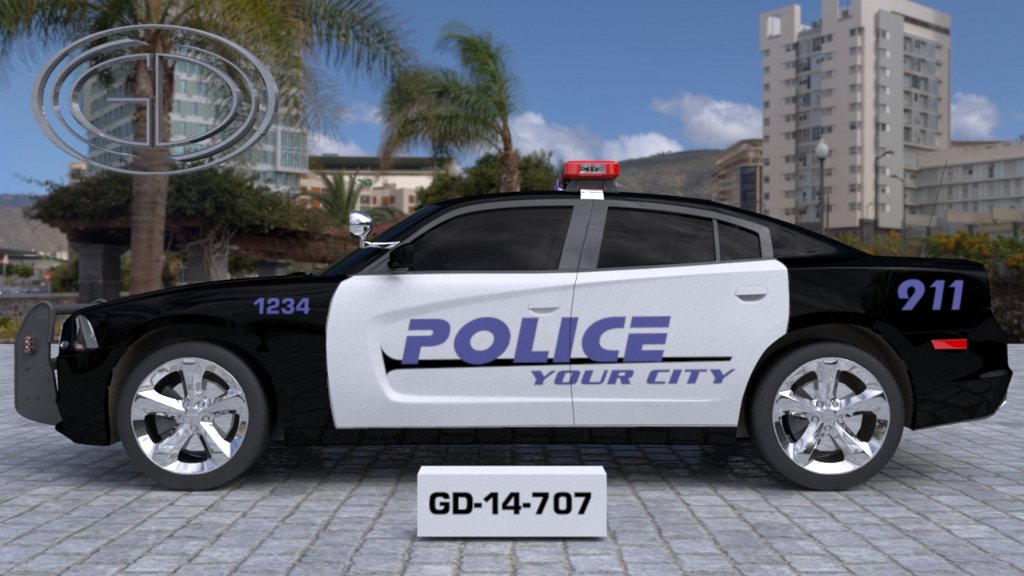 sideview of a white black designed your city police car GD-14-707