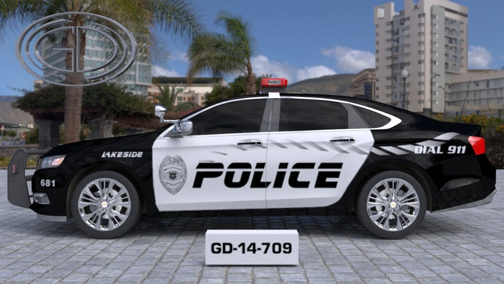 sideview of a white black designed police car lakeside