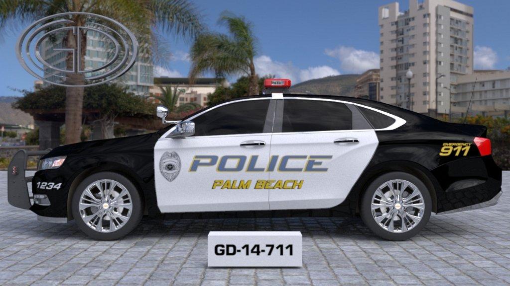 sideview of a white black police car palm beach