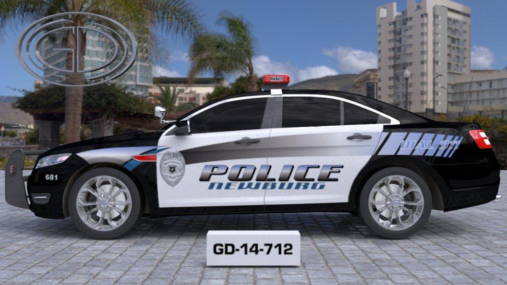 sideview of a white black designed police newburg car