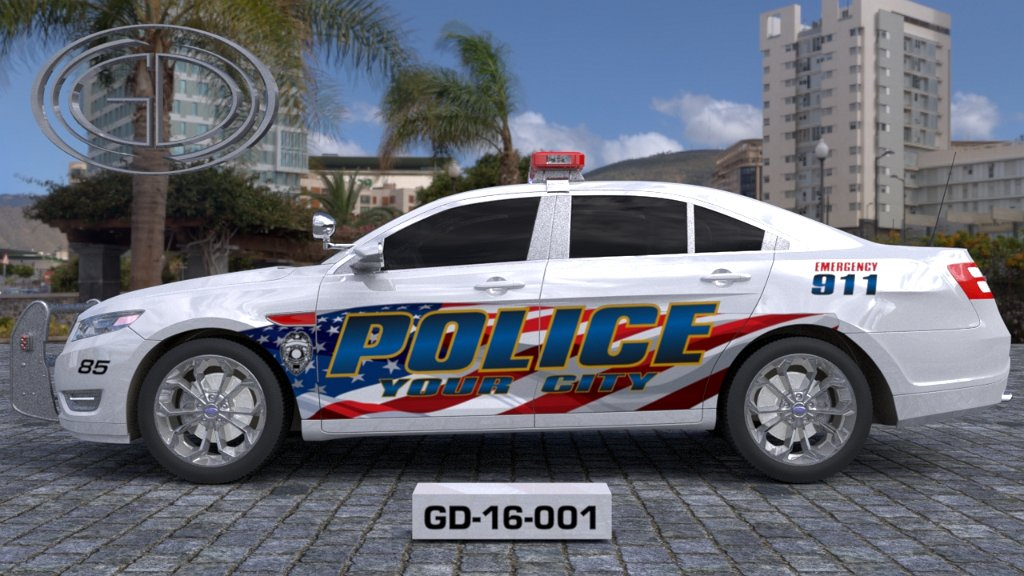 sideview design of a your city police car GD-16-001