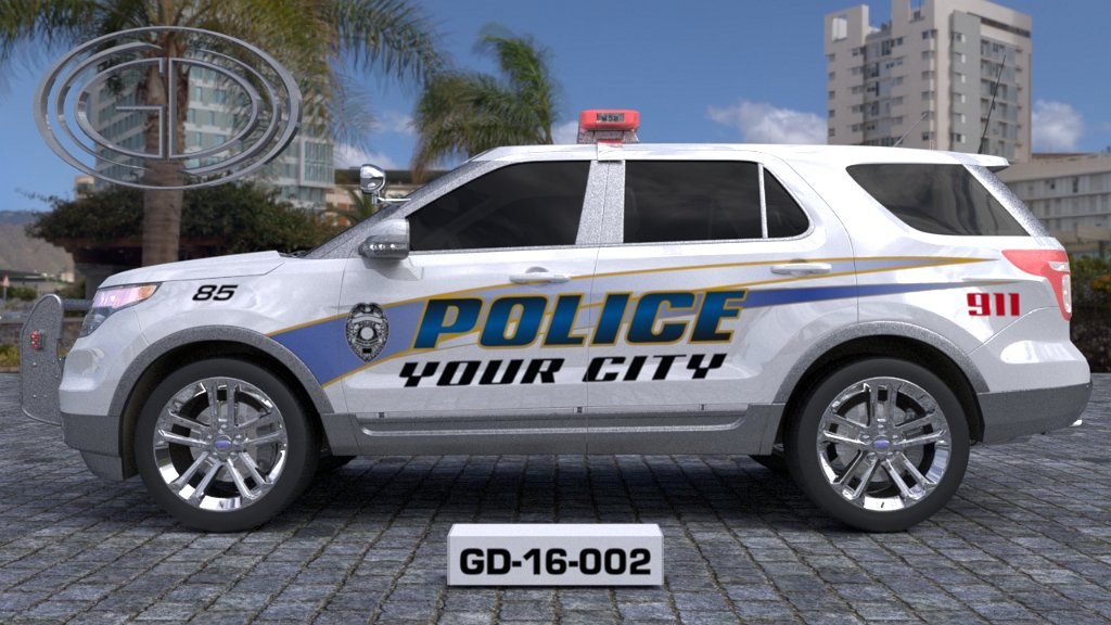 sideview design of a your city police suv car GD-16-002