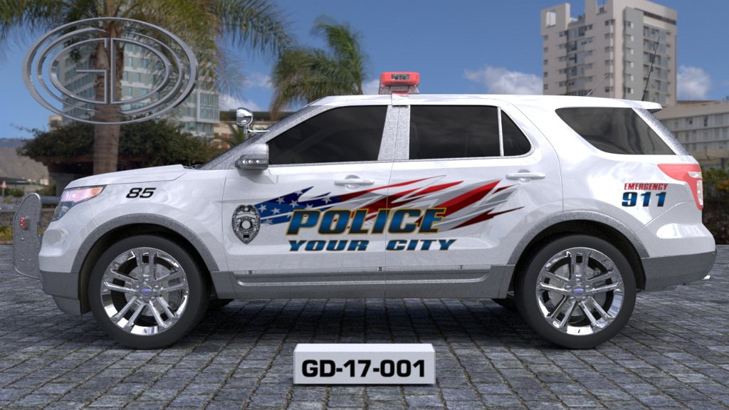 sideview design of a your city police suv car GD-17-001