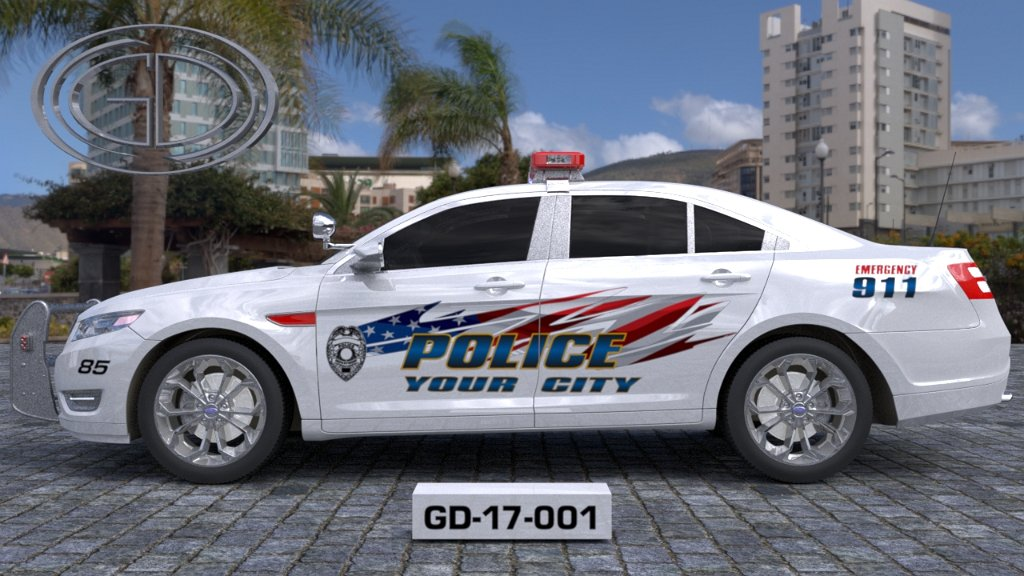 sideview design of a your city police car GD-17-001