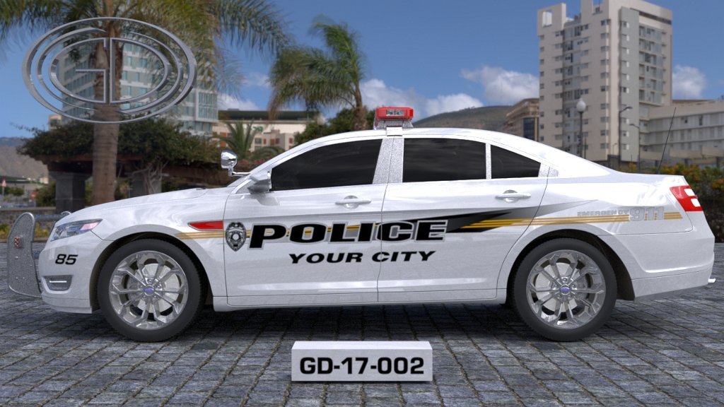 sideview design of a your city police car GD-17-002