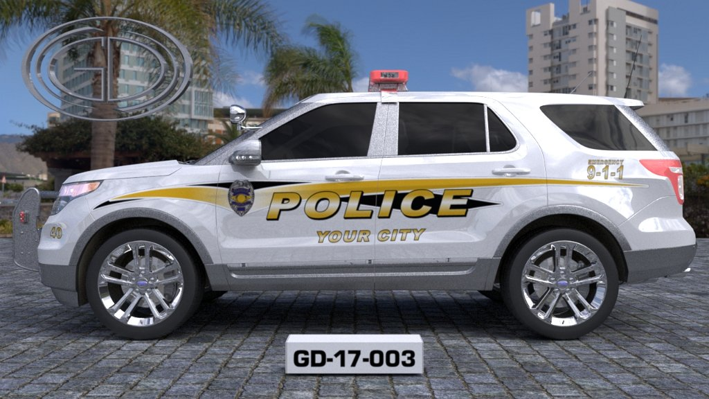 sideview design of a your city police suv car GD-17-003