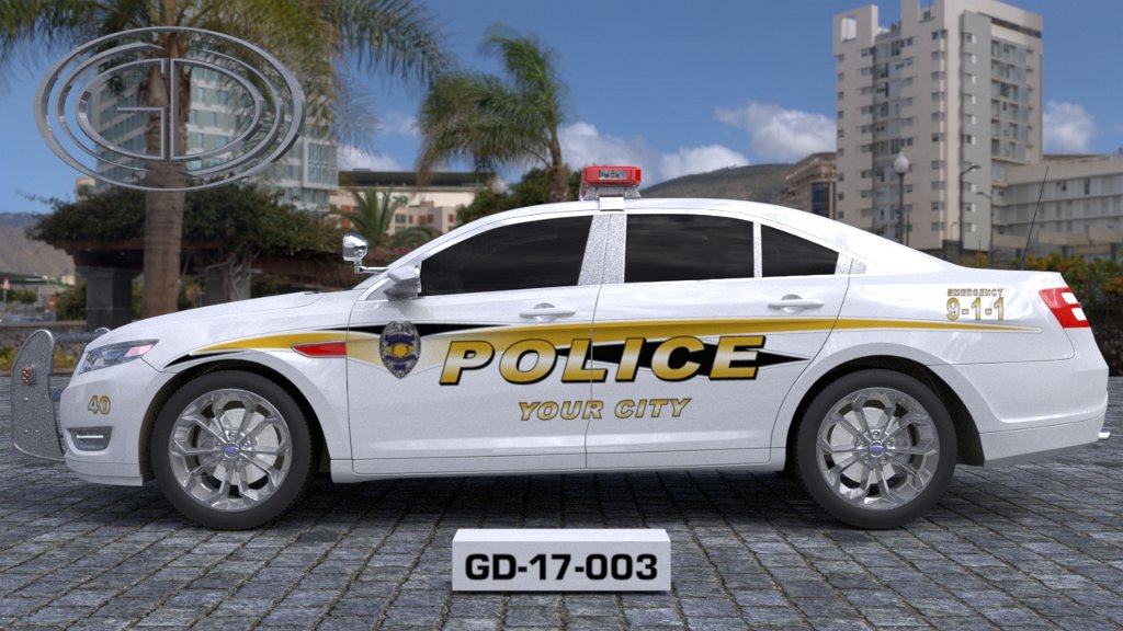 sideview design of a your city police car GD-17-003