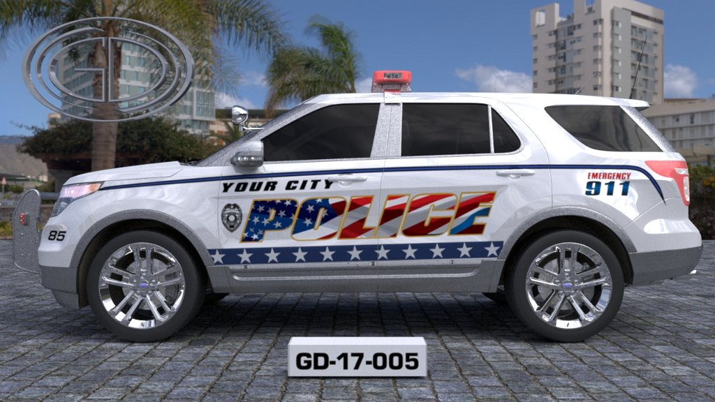sideview of a white USA flag designed your city police suv car GD-17-005