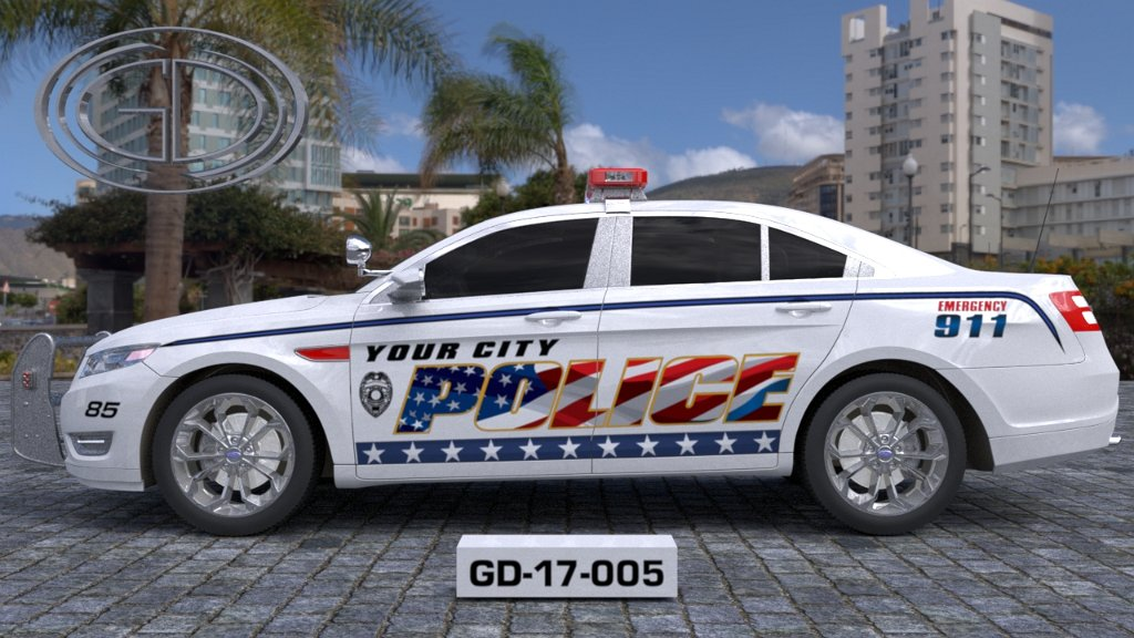 sideview design of a your city police car GD-17-005