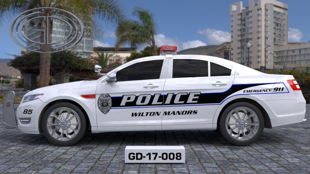 sideview design of a police wilton manors car