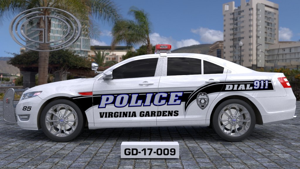 sideview design of a virginia gardens police car