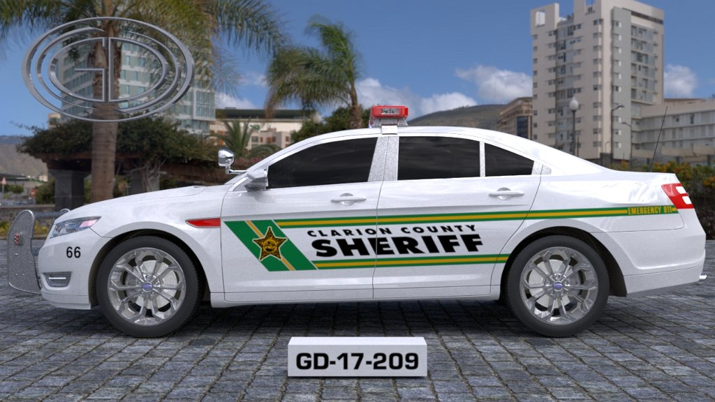 sideview design of clarion county sheriff suv car GD-17-209