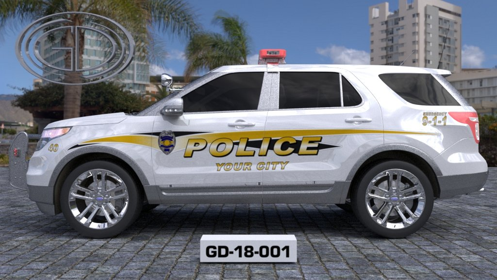 sideview design of a your city police suv car GD-18-001