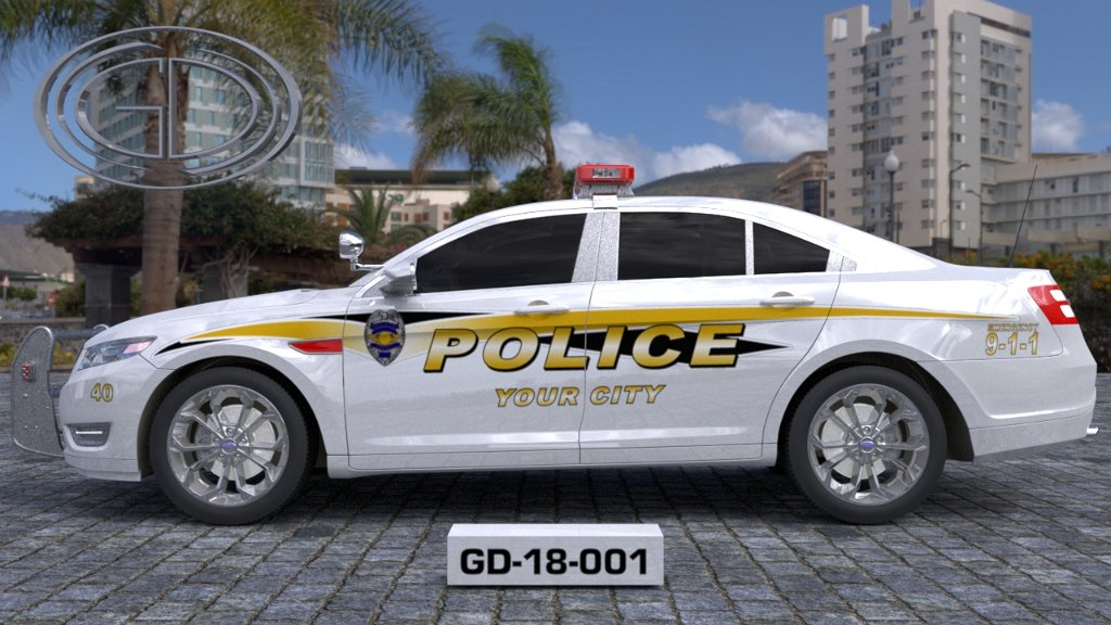 sideview design of a your city police car GD-18-001