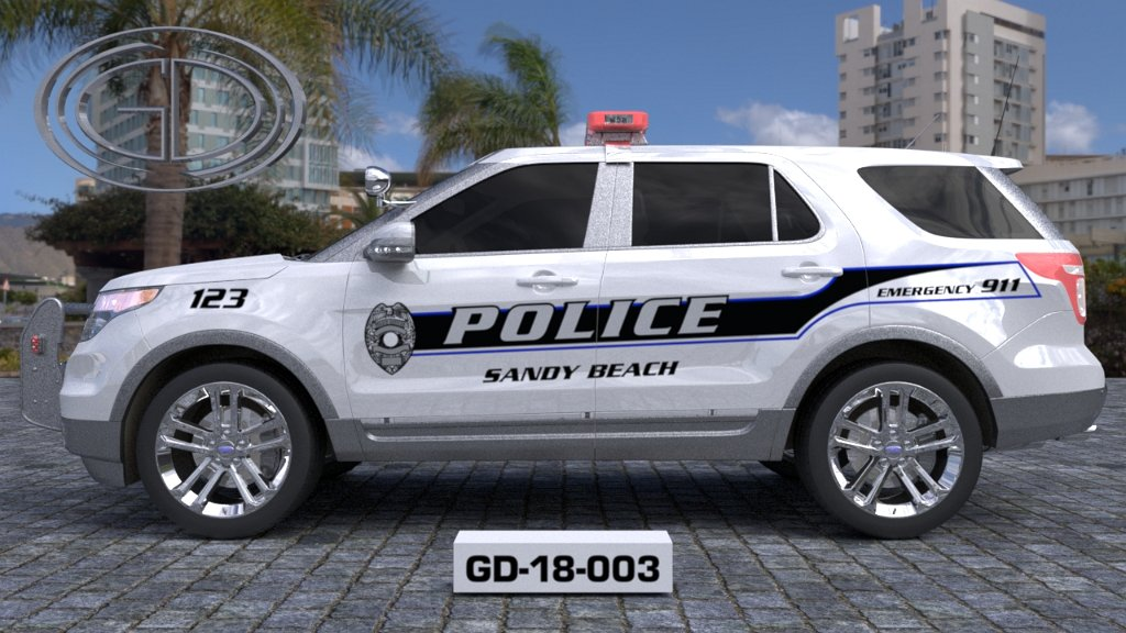 sideview design of a sandy beach police suv car GD-18-003