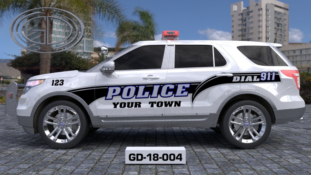 sideview design of a your town police suv car