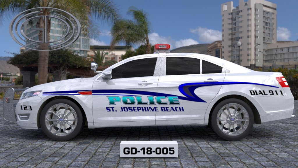 sideview design of a st josephine beach police car