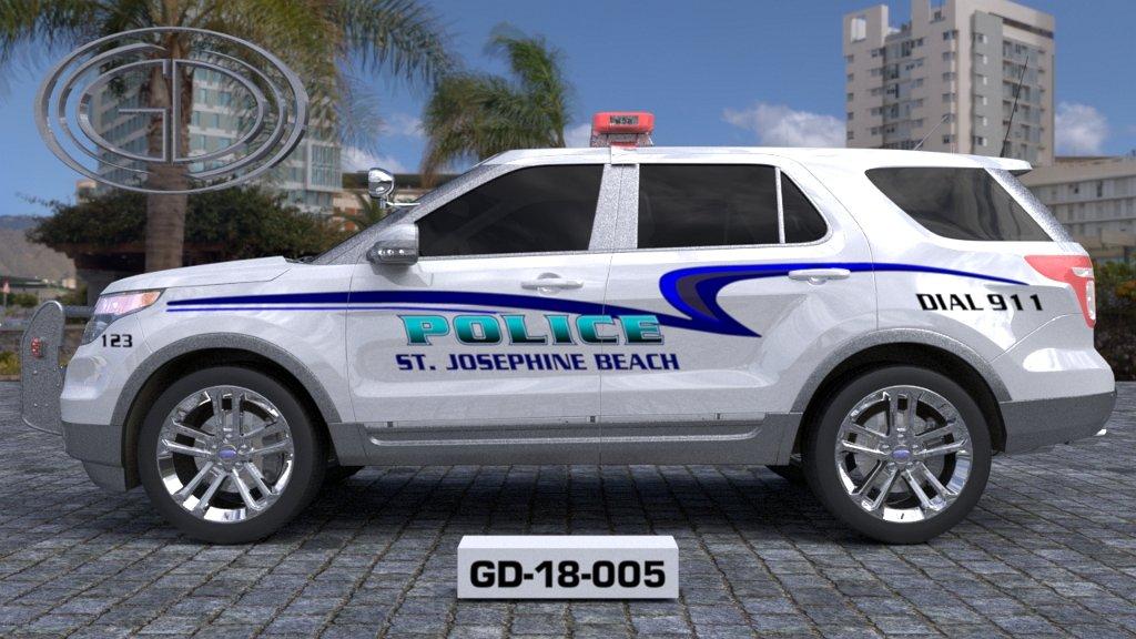 sideview design of st josephine beach police suv car