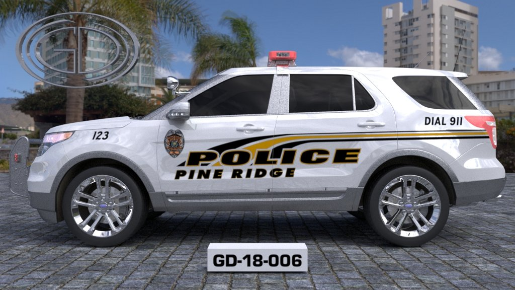sideview design of a pine ridge police suv car