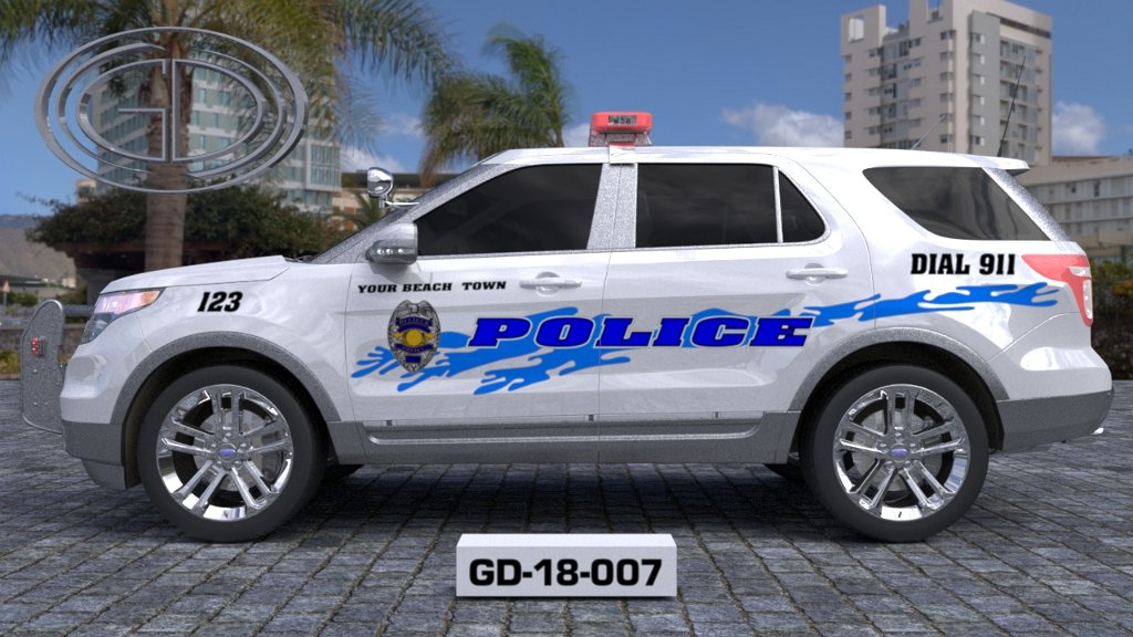 sideview design of 'your beach town' police suv car