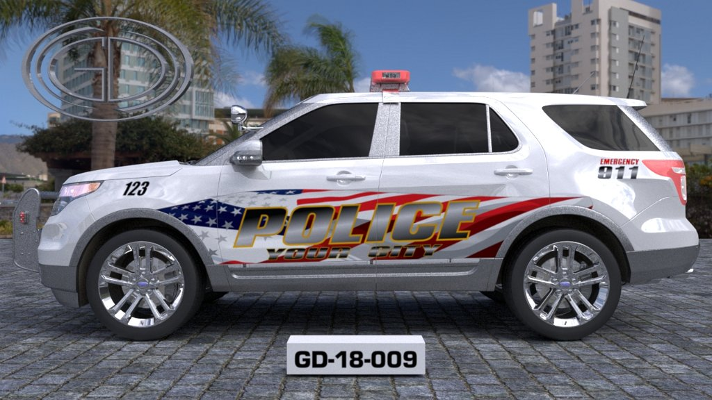 sideview design of a your city police suv car GD-18-009