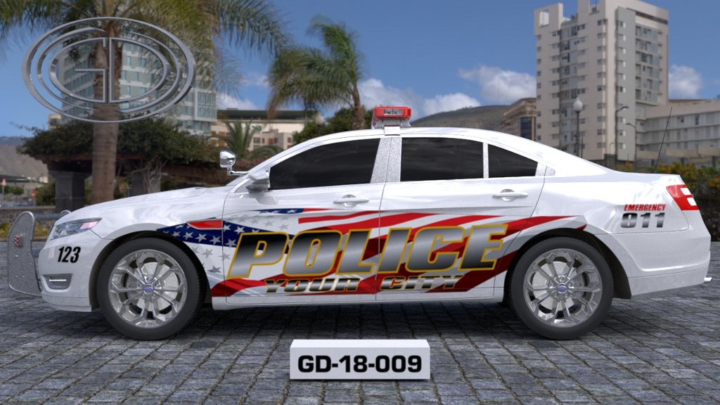 sideview design of a your city police car GD-18-009