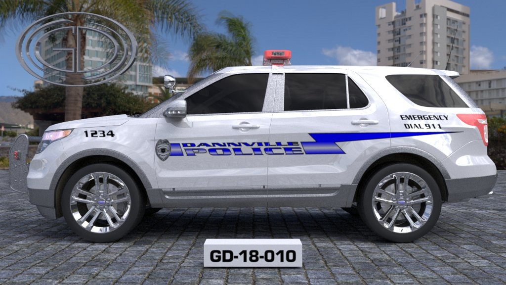 sideview design of a danville police suv car