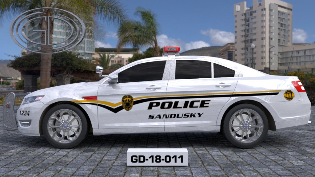 sideview design of a police sandusky car