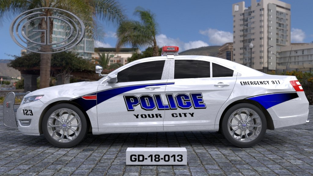 sideview design of a your city police car GD-18-013