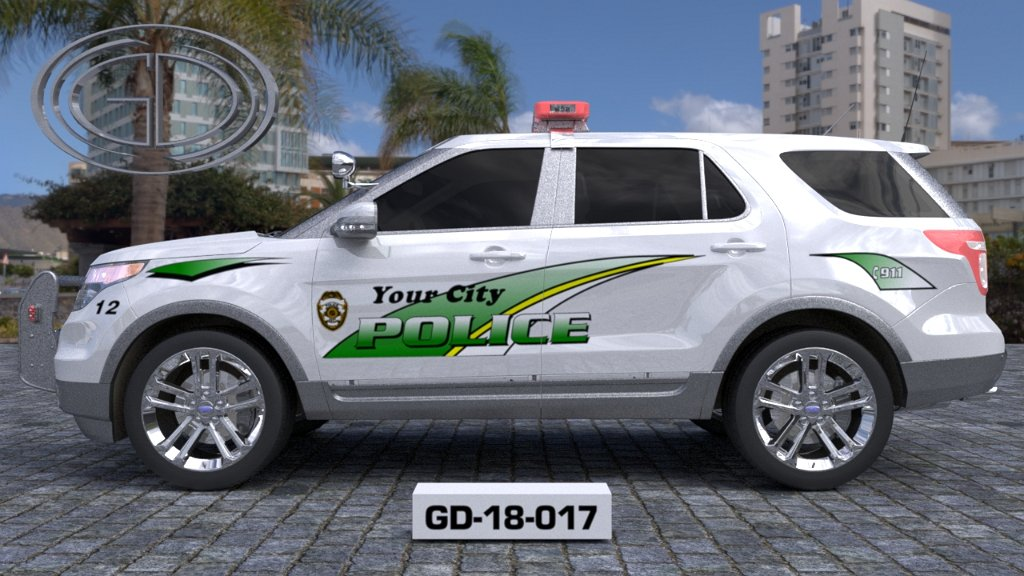 sideview design of a your city police suv car GD-18-017