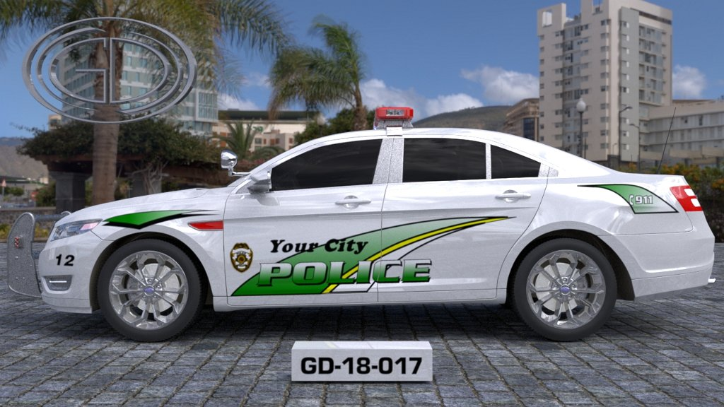 sideview of a white & green designed police car