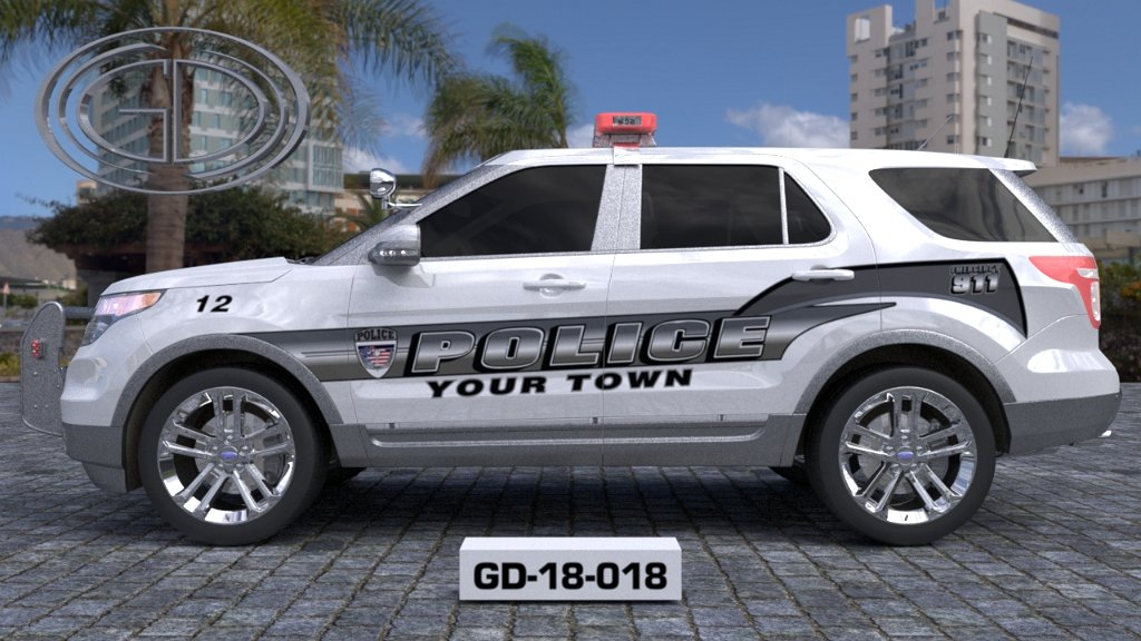 sideview of a white grey designed your town suv car