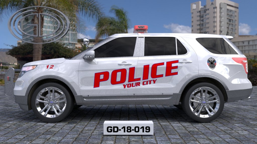 sideview design of a your city police suv car GD-18-019