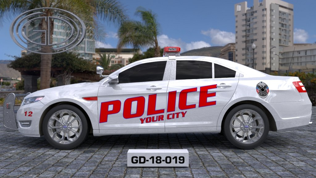 sideview design of a your city police car GD-18-019
