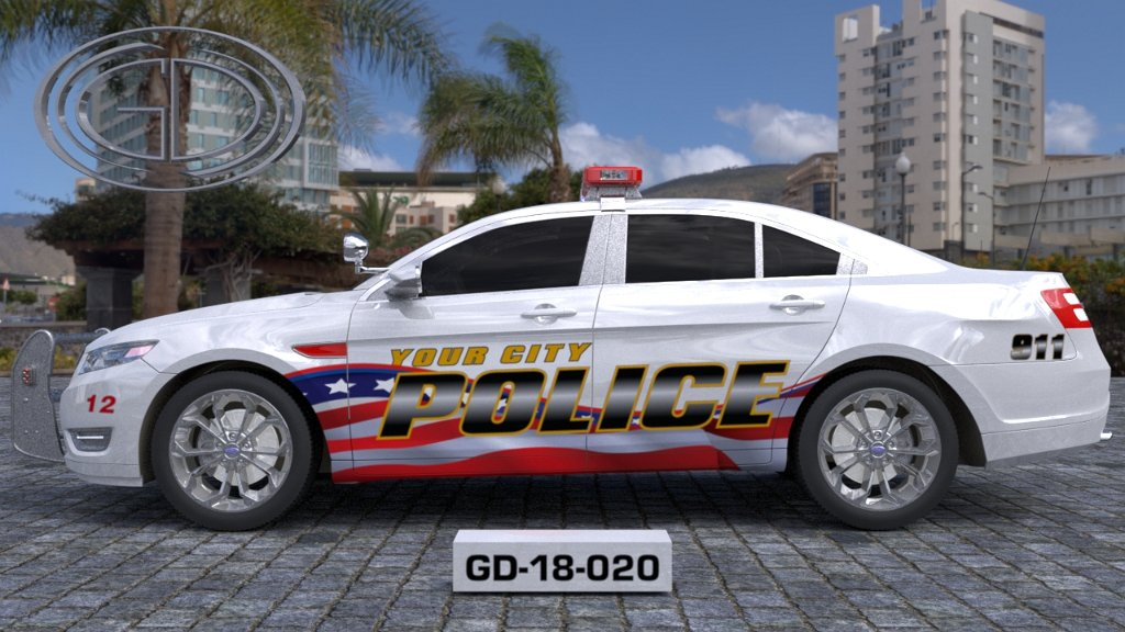 sideview design of a your city police car GD-18-020