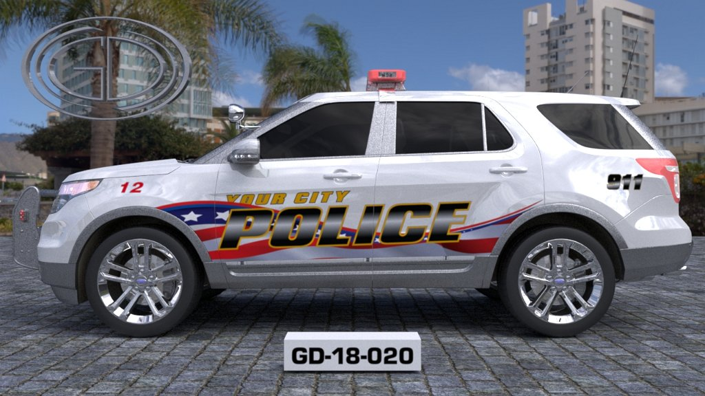 sideview design of a your city police car GD-18-020-2